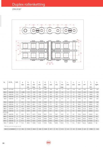 Duplex rollenketting DIN 8187