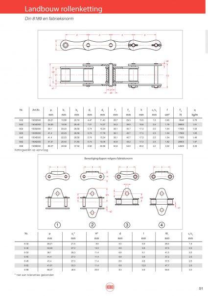 Landbouw rollenketting DIN 8189 en fabrieksnorm
