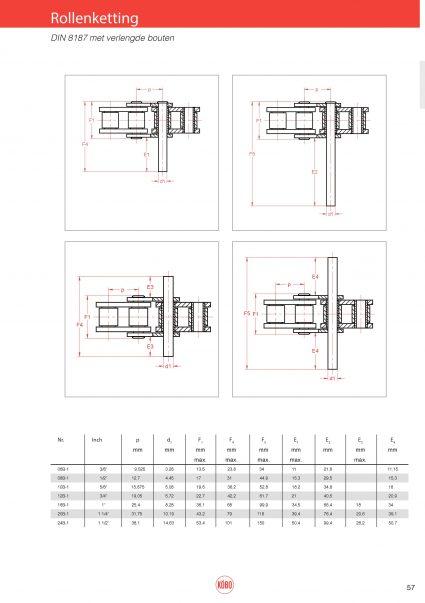 Rollenketting DIN 8187 met verlengde pen
