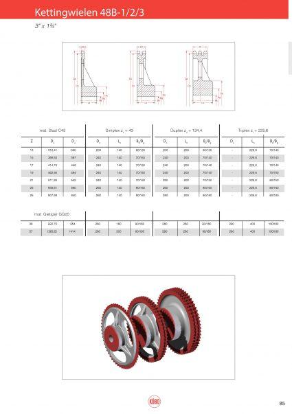 Kettingwielen staal 48B-1/2/3 (Zs=43 ) – 3″x 1 3/4″