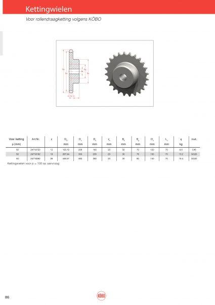 Kettingwielen staal voor rollendraagketting fabrieksnorm Köbo