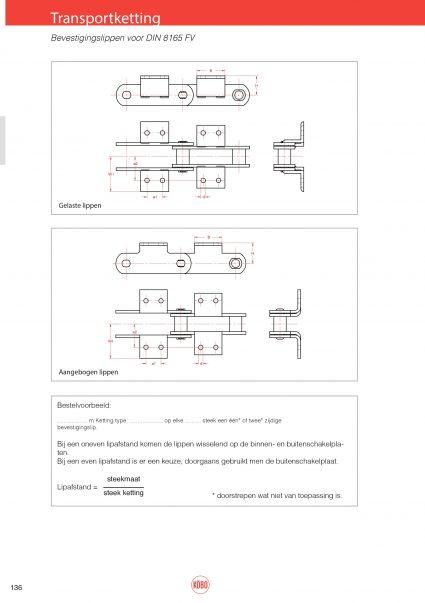Transportketting met bevestigingslippen FV (type 203 t/m 218) DIN8165