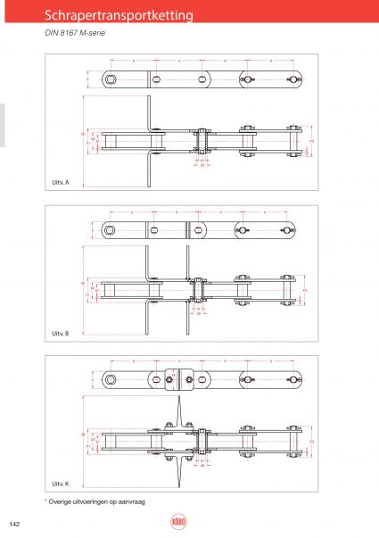 Schrapertransportketting M-serie (ISO M56 t/m M450) DIN8167