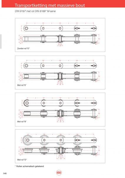Transportketting M serie met massieve bouten (ISO M160 t/m M900) DIN8167 (ISO1977)