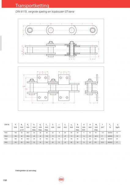 Transportketting met vergrote speling ST serie DIN8175