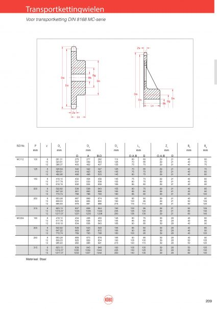 Transportkettingwielen voor MC-serie MC28, MC56, MC112 en MC224 (DIN 8168)