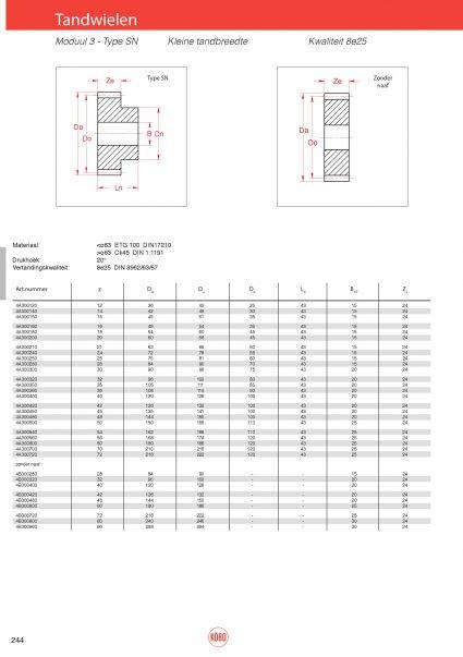 Tandwielen moduul 3 type SN (kleine tandbreedte)
