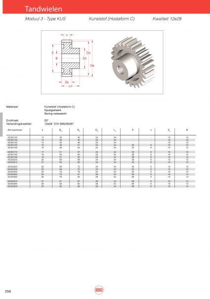 Tandwielen moduul 3 type KUS (kunststof)