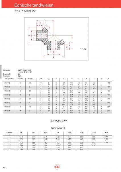 Conische tandwielen (set) verhouding 1:1,5