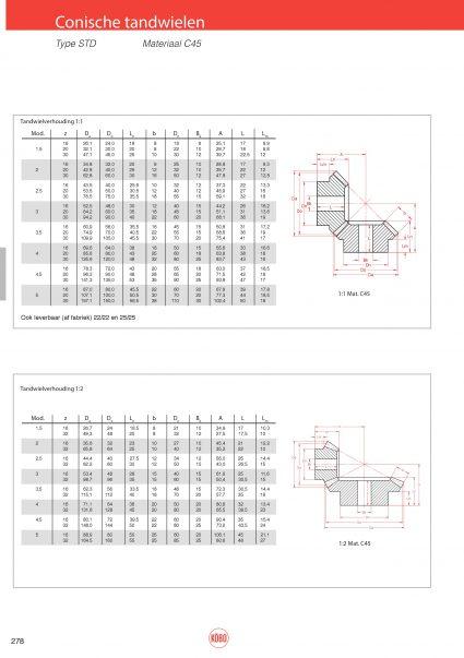 Conische tandwielen standaard serie verhouding 1:1 en 1:2