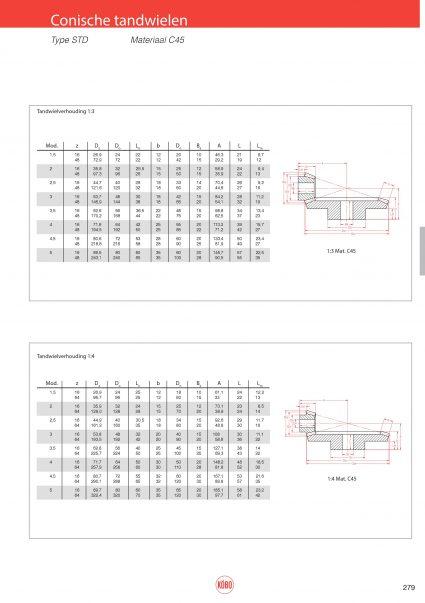 Conische tandwielen standaard verhouding 1:3 en 1:4