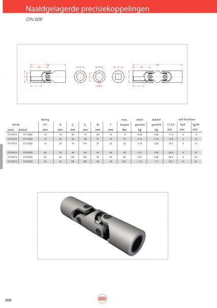 Naaldgelagerde precisiekoppelingen DIN 808